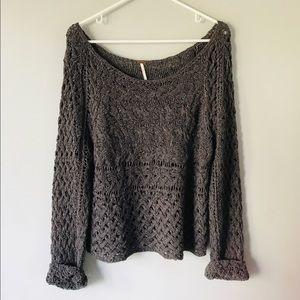 Free People grey open knit oversized sweater M